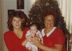 Davey, Grandma and me at Christmas