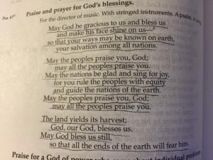 April 30 Psalm 67, 2015
