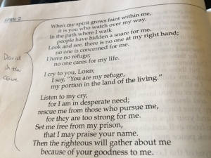 April 2 Psalm 142, 2016
